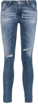 AG Jeans Low-rise distressed skinny jeans