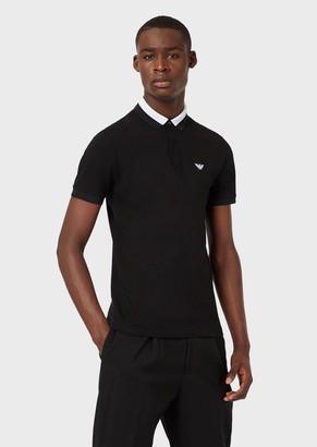 Emporio Armani Stretch Pique Polo Shirt With Contrasting Collar