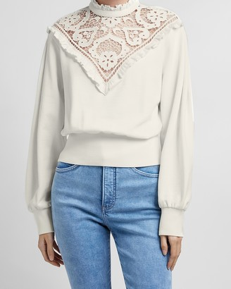 Express Ruffle Lace Mock Neck Sweatshirt