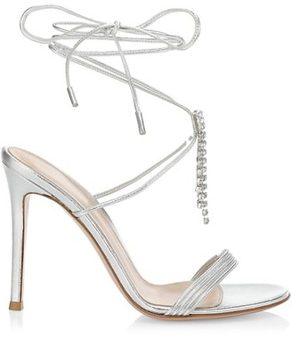 Gianvito Rossi Dynasty Crystal-Embellished Metallic Leather Sandals