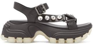 Miu Miu Crystal-embellished Raised-sole Sandals - Womens - Black