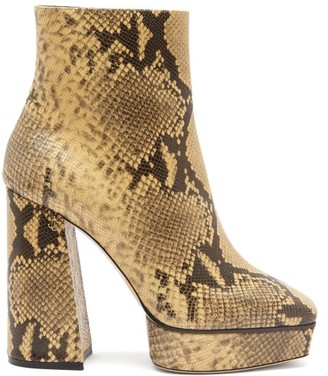 Jimmy Choo Bryn 125 Python-effect Leather Boots - Beige Multi