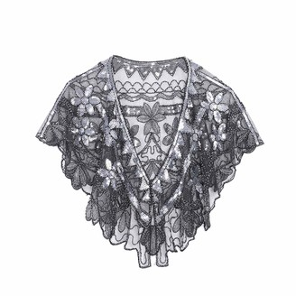 Ro Rox Women's Janet 1920's Great Gatsby Party Bohemian Flapper Shrug Scarf Shawl Wrap One Size Black & Silver