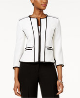 Kasper Petite Zip-Up Piped Blazer