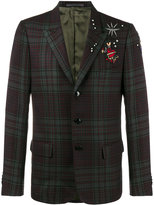 Valentino tattoo embroidered tartan blazer