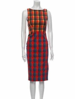 Altuzarra Plaid Print Midi Length Dress Red