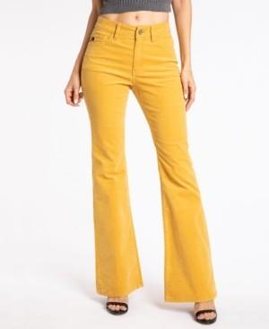 Kancan Women's High Rise Corduroy Skinny Flare Jeans