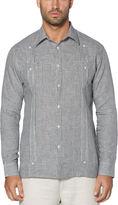 Cubavera 100% Linen Long Sleeve Gingham 2 Pocket Guayabera