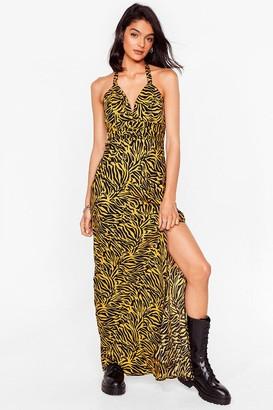 Nasty Gal Womens Halter the Ending Zebra Maxi Dress - Yellow - 4