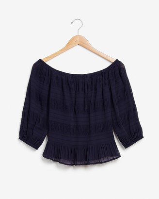 Express Pleated Off The Shoulder Top