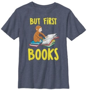 Fifth Sun Curious George Big Boys Reading But First Books Short Sleeve T-Shirt