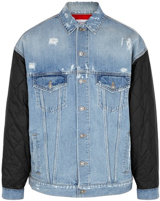 Givenchy Blue denim and quilted shell jacket