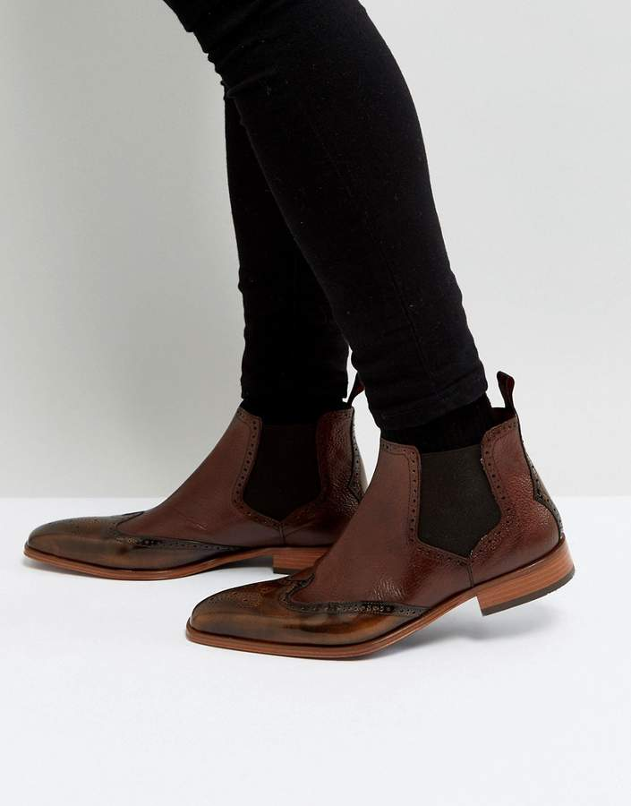Jeffery West Capone Brogue Chelsea Boots In Tan