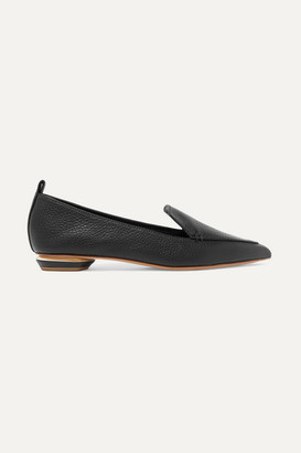 Nicholas Kirkwood Beya Textured-leather Point-toe Flats - Black