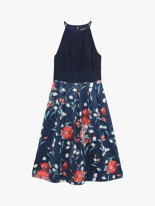 Oasis Floral Lace Dress, Navy