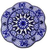 Artisan Crafted Handcrafted Floral Ceramic Platter Serveware, 'Blue Duchess'