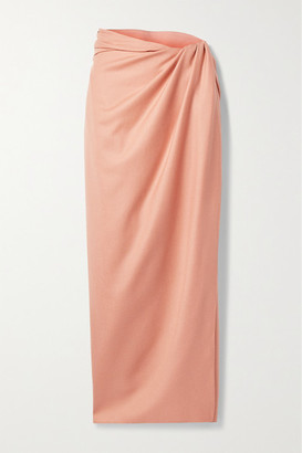 Brandon Maxwell Wrap-effect Gathered Wool And Silk-blend Midi Skirt - Blush