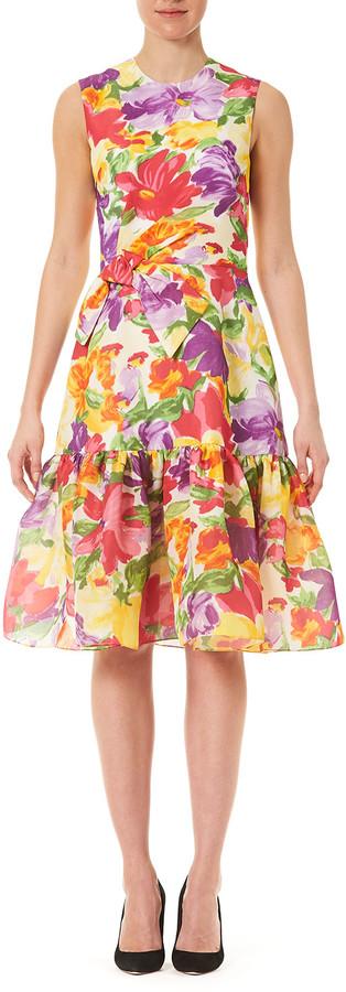 Carolina Herrera Floral-Print Silk Bow Dress