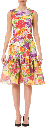Carolina Herrera Floral-Print Silk Bow Dress