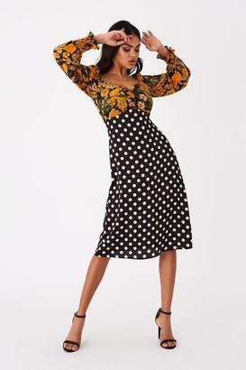 Girls On Film Lima Spot And Floral Print Midi Tea Dress