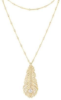 Boucheron Plume de Paon 18K Yellow Gold & Diamond Peacock Feather Pendant Necklace