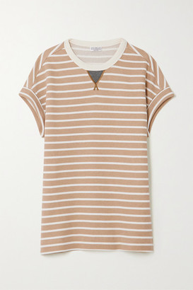 Brunello Cucinelli Bead-embellished Striped Cotton-jersey T-shirt - Camel