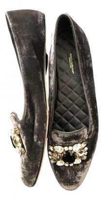 Dolce & Gabbana Grey Velvet Flats