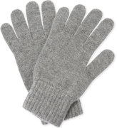 Johnstons Mens Light Grey Ribbed Luxury Cashmere Gloves