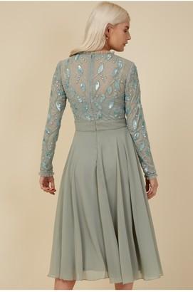 Little Mistress Bridesmaid Ayla Waterlily Embellished Midi Dress