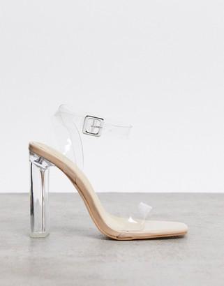 Public Desire Tribute square toe clear heeled sandals in beige