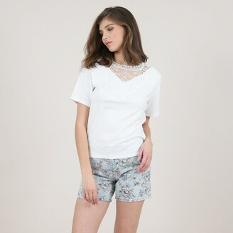 Molly Bracken Cotton V-Neck T-Shirt with Front Lace Detail and Short Sleeves