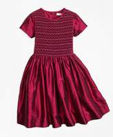 Brooks Brothers Silk Smocked Dress