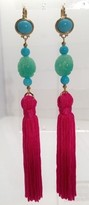 The Well Appointed House Turquoise & Jade Beaded Earrings with Pink Tassels