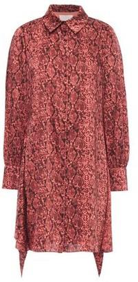 Cinq à Sept Draped Snake-print Twill Mini Shirt Dress