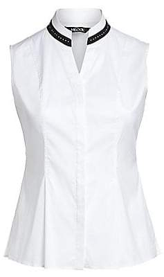 Misook Misook, Plus Size Women's Studded Collar Stretch Cotton Blouse