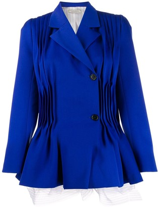 Nina Ricci Pleat Detail Flared Blazer Jacket