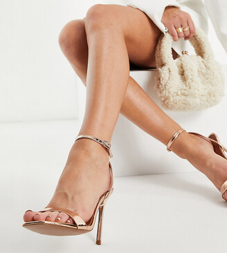ASOS DESIGN Wide Fit Nala barely there heeled sandals in rose gold