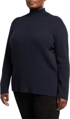 Lafayette 148 New York Plus Plus Size Turtleneck Cashmere Ribbed Sweater