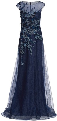 Teri Jon By Rickie Freeman Floral Embroidered Tulle Gown