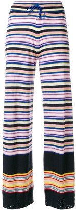 Barrie Striped Flared Trousers