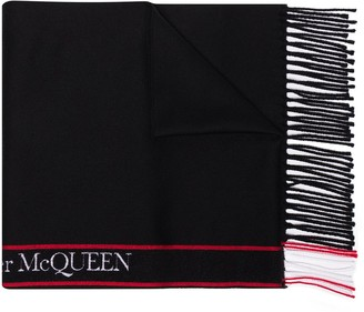 Alexander McQueen Logo-Tape Fringed Scarf