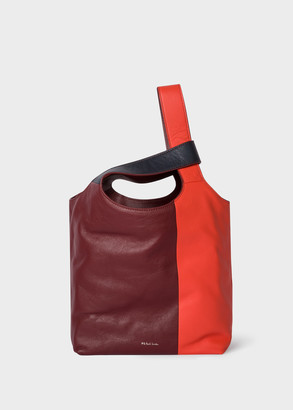 Women's Burgundy And Red Leather Tote Bag