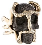 Lucifer Vir Honestus 18K Diamond & Agate Skull Ring