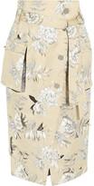 Maison Margiela Floral-print Cotton And Linen-blend Skirt - Ecru