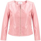 MSSHE Women's Faux PU Leather Jacket Plus Size Round Collar Biker Jacket