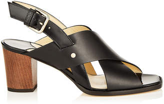 Jimmy Choo AIX 65 Black Mix Vachetta Leather and Patent Strap Sandal