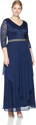 Alex Evenings Women's Plus Size Long V Neck Lace Top Dress