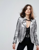Muu Baa Muubaa Monteria Metallic Leather Jacket