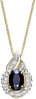 Macy's 14k Gold Necklace, Sapphire (1 ct. t.w.) and Diamond (1/5 ct. t.w.) Swirl Pendant