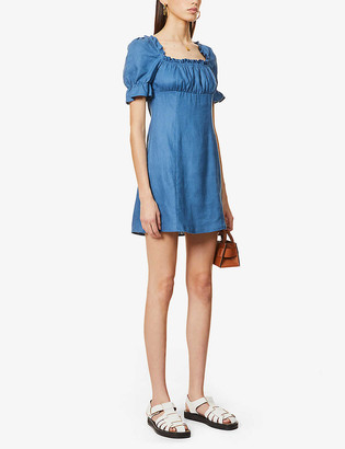 Reformation Robles puff-sleeve linen mini dress